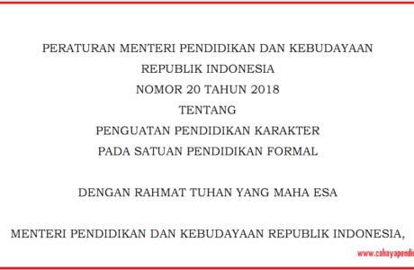Permendikbud Nomor 20 Tahun 2018 Penguatan Pendidikan Karakter