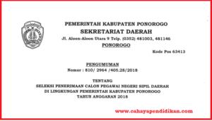 Formasi Seleksi Penerimaan CPNS Kabupaten Ponorogo Tahun 2018