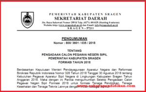 Formasi Seleksi Penerimaan CPNS Kabupaten Sragen Tahun 2018