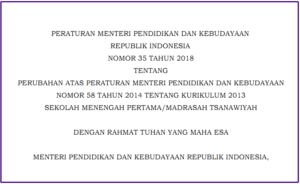 Permendikbud 35 Tahun 2018