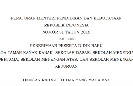 Permendikbud 51 Tahun 2018