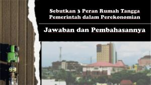 Sebutkan 3 Peran Rumah Tangga Pemerintah dalam Perekonomian