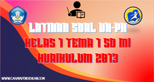 Latihan Soal UH-PH Kelas-1 Tema-1 Subtema 1, 2, 3, 4 Kurimulum 2013