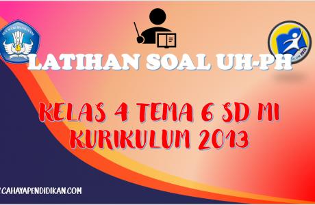 Latihan Soal UH-PH Kelas-4 Tema-6 Subtema 1, 2, 3 Dengan Kunci Jawaban Kurikulum 2013